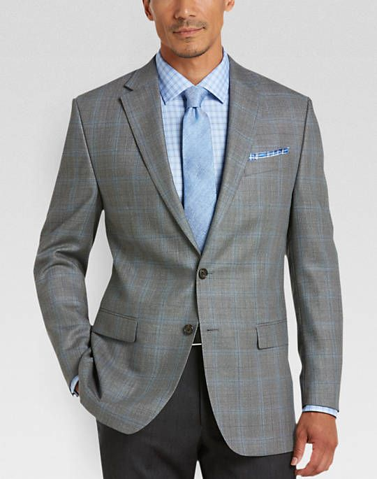 Lauren by Ralph Lauren Gray Plaid Classic Fit Sport Coat