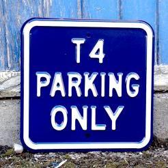 VW T4 PARKING ONLY STEEL SIGN - DARK BLUE
