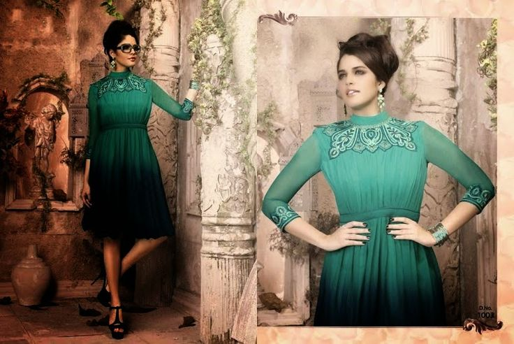 Superb Designer Ready to Wear Georgette Kurti with linning  in Green color with beautiful Thread Embroidery .  Available in S,M,L, XL size.