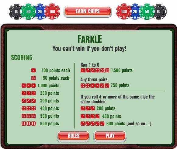 5 dice farkle rules sheet