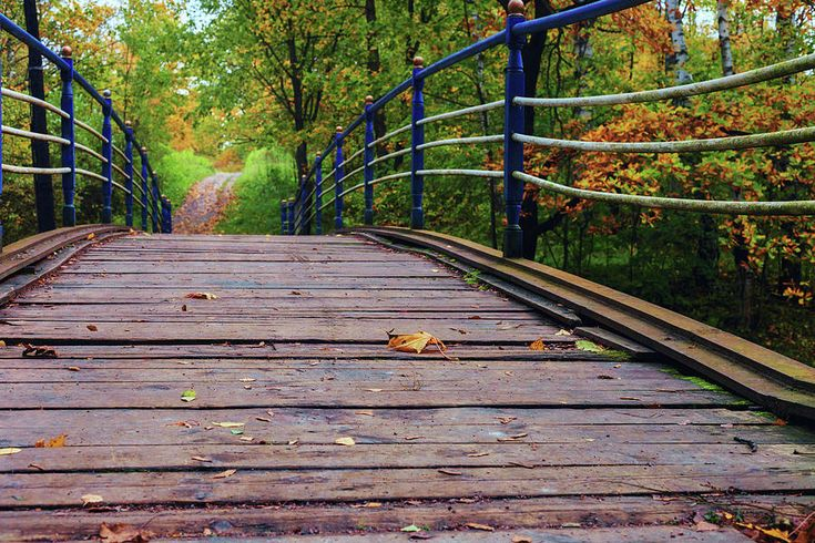 George Westermak Photograph - the old bridge over the river invites for a leisurely stroll in the autumn Park by George Westermak #GeorgeWestermakFineArtPhotography #FineArtPrints #photography #Russia #autumn