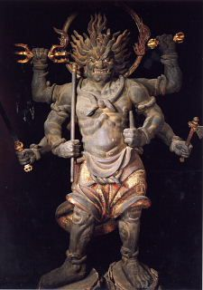 Daigensui Myoo (a Buddhist deity believed to have the virtue to convert impurity into purity) standing statue (important cultural property) at Akishino-dera Temple (Nara)