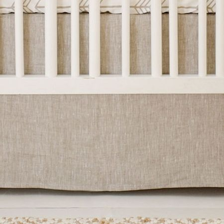 Neutral Linen Crib Skirt | Neutral Baby Bedding | Arrow Nursery