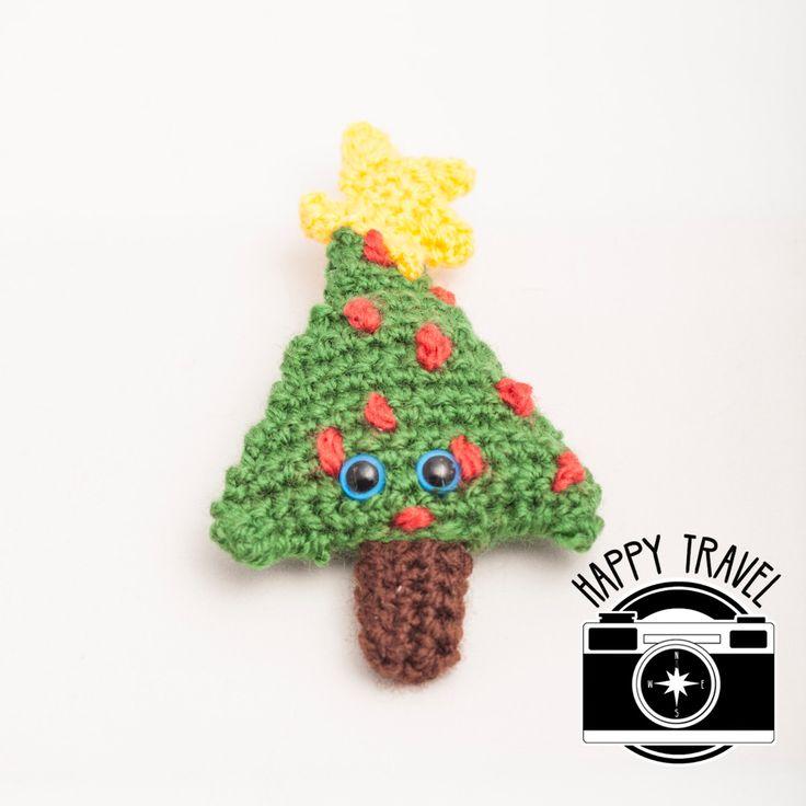 Travel toy - handmade crochet travel tree, christmas tree, travel friend, traveller buddy, travel amigo, great gift ideas, perfect photos by HappyTravel on Etsy