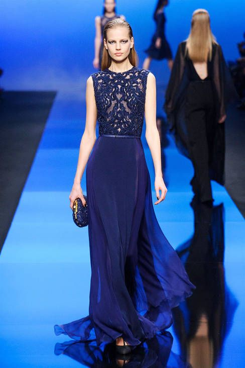 Well-placed lace. Elie Saab Fall 2013 #runway #fashionweek