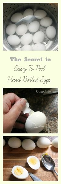 Easy to peel hard boiled eggs 1 Tbsp/6 eggs vinegar, boil 7 min (white eggs) or 9 min (brown eggs), then in cold water