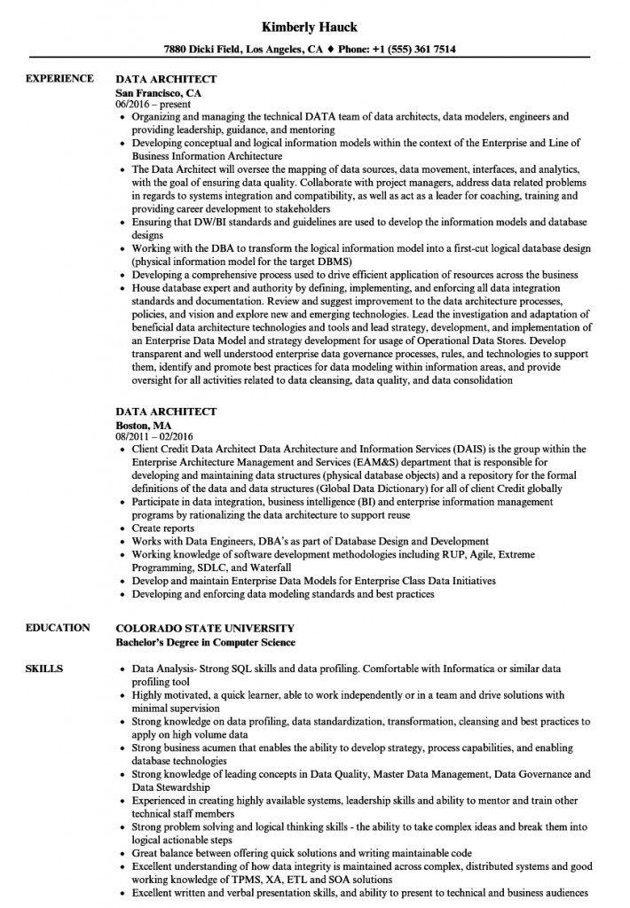 Enterprise Data Architect Resume 2021 Architect Resume Sample Architect Resume Information Architecture