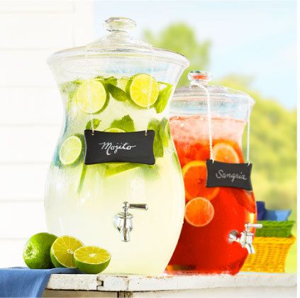 good idea for serving drinks at a bbq, dont have to make everyone the custom drink they like. Make a gallon of a couple different mixed drinks and party!