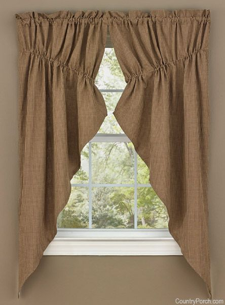 Shades Of Brown Lined Gathered Window Curtain Swag