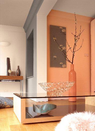 Peinture Astral dans salon moderne couleur orange et gris