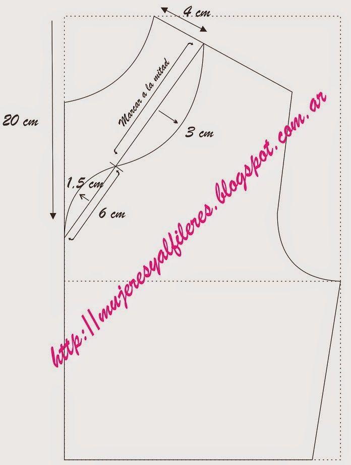 Mujeres y alfileres: Transformación de molderia: distintos tipos de escotes