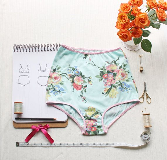 High waisted underwear sewing pattern.  Cotton Spandex Jersey is soft at stretchy so it works great for making custom undies!  Click to see the easy tutorial.