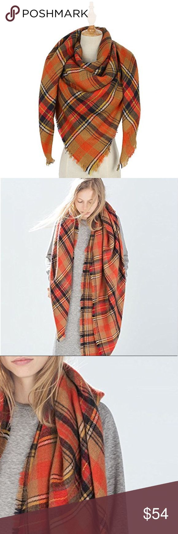 """Pumpkin Spice Ultra Plush Plaid Blanket Scarf A huge, cuddly scarf perfect for sweater weather in a neutral, pumpkin spice color palette. Wear as a wrap, shawl, scarf, or a small throw blanket.  59"""" x 59""""  ❌ Sorry, no trades.  fairlygirly fairlygirly Accessories Scarves & Wraps"""