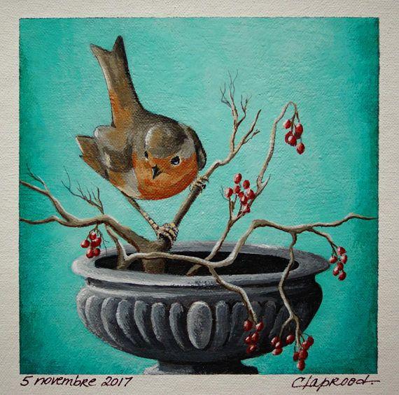 Bird painting robin painting bird and vase image bird on