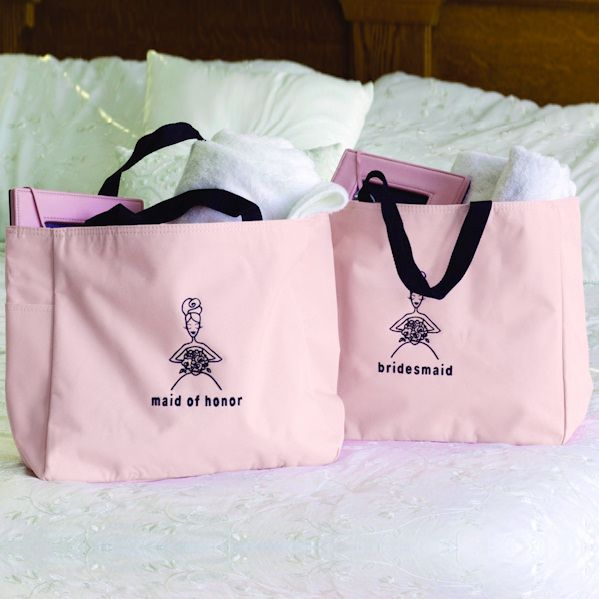 Pink and Black Bridal Party Tote Bags (Hortense B Hewitt 56210) | Buy at Wedding Favors Unlimited (http://www.weddingfavorsunlimited.com/bridesmaid_pink_tote_bag.html).