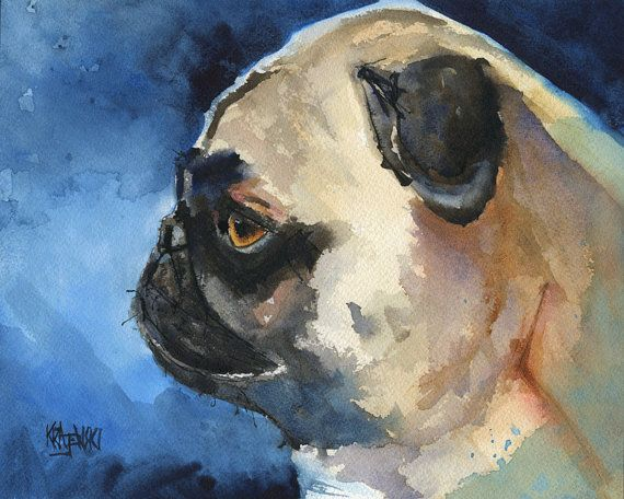 Bridget---Would love to see you do this!!! Pug Dog Art Print of Original Watercolor Painting by dogartstudio, $24.50