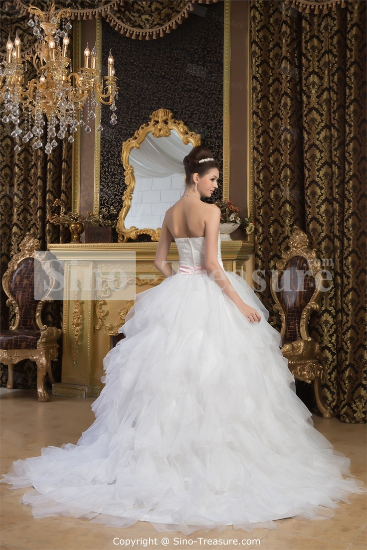 White Natural A-Line Zipper-back Sleeveless Sweetheart Wedding Dress