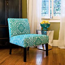 Bradstreet Modern Damask Turquoise Blue Upholstery New Side Accent Armless Chair