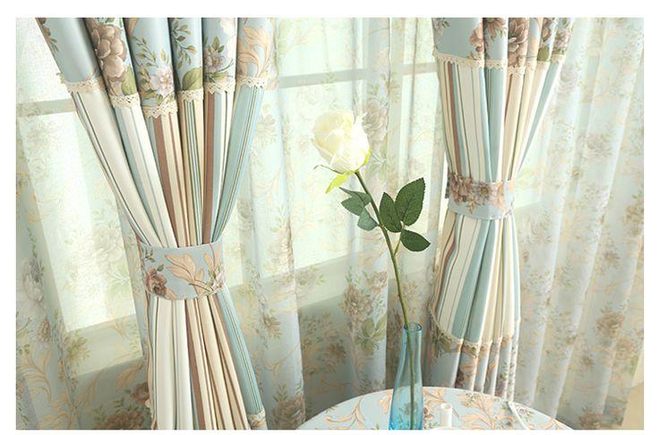 Ткань Дзен американский кантри пастырской цветочные шить шторы полосатые измерения установки пользовательских оттенок ткани показал признаки -tmall.com Lynx