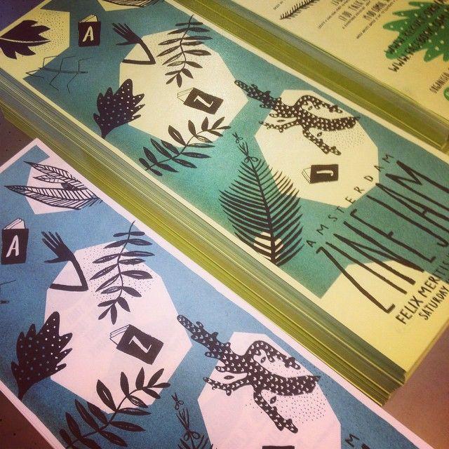 Risoprint - Risograph - mimeograph - duplicator - soja inkt - soy - teal - illustratie  - flyer - zine jam - www.dekijm.nl