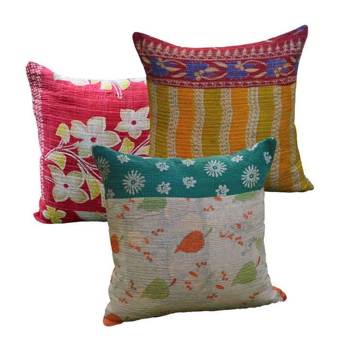 Gorgeous handembroidered kantha cushions, made out of pieces of old saris & lungis, so beautiful & unique, would make a lovely gift for someone special...currently on sale at www.shakiraaz.com.au