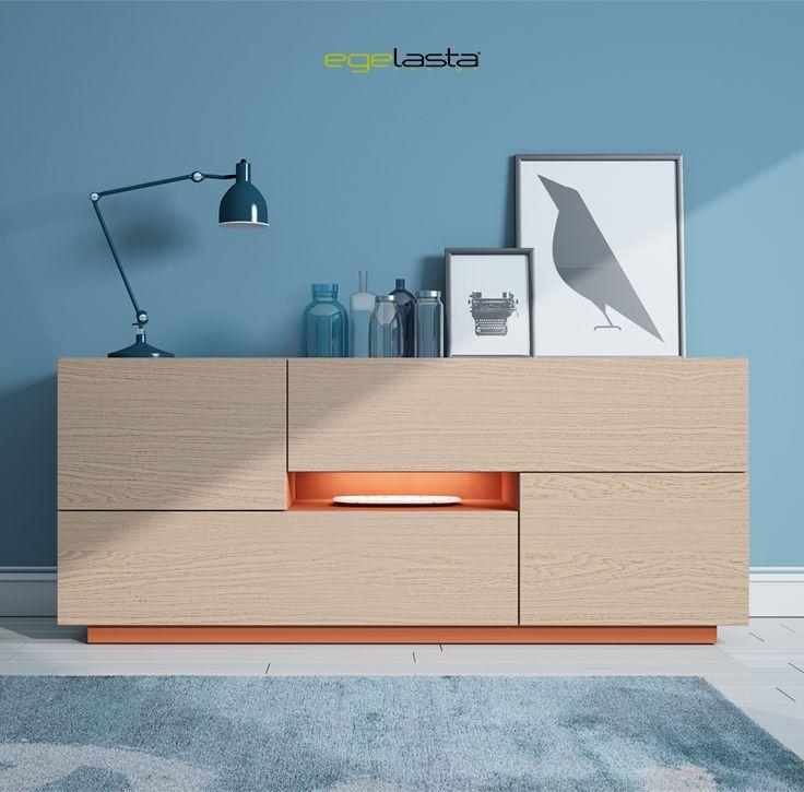 Egelasta · Mueble · Moderno  · Madera · Mobiliario de hogar · Catálogo New Live · Día · Comedor · Aparador · Roble nórdico y laca caldera