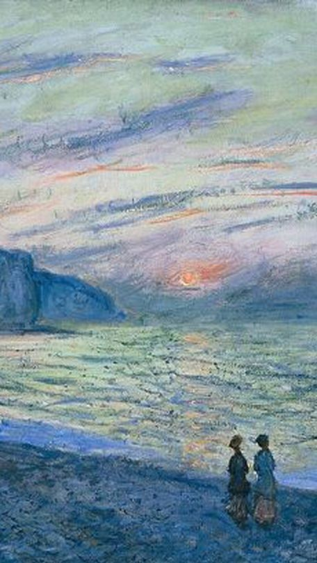 Sunset at Pourville (Detail) - Claude Monet , 1882 French 1840-1926 Oil on canvas, 23 5/8 x 32 1/8 inches. More