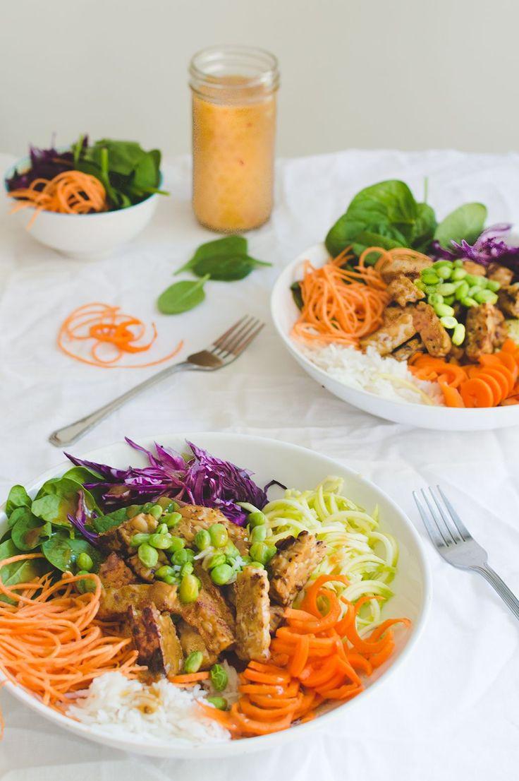 Salade dragon au tempeh et vinaigrette miso et orange • Alex Cuisine