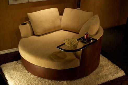 """Cuddle Couch"" Home Theater Seating for Two"" YES!"