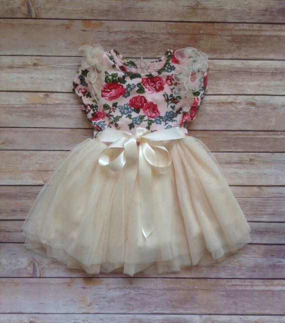 Ivory Pink Floral Toddler Girls Tutu Dress, Vintage Toddler Dress, Flower Girl, Easter Dress Outfit, Birthday Dress,Rustic Beach Wedding