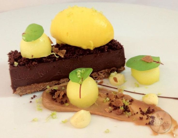 Chocolate Ganache with Mango Sorbet and Chocolate Crackle. #catering #events #leicestershirefood #xclusive