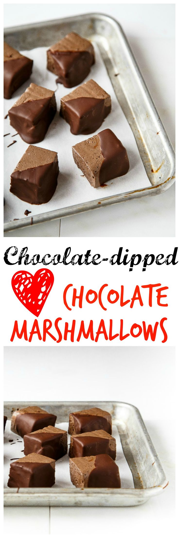 Chocolate dunked chocolate marshmallows. Is that enough chocolate for Valentine's Day dessert for you? ;)