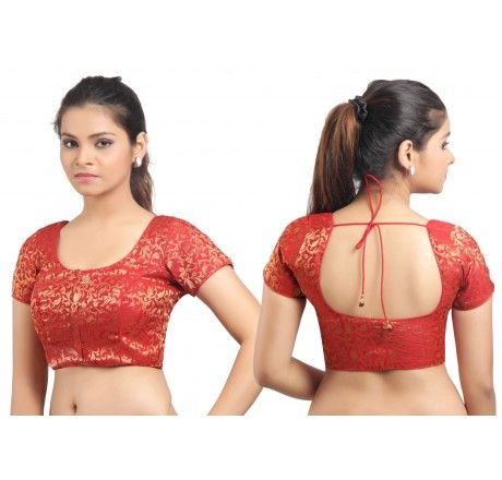Red ready made stitched padded saree blouse