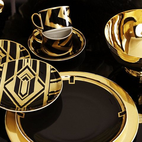 "CALLIA DIAMOND DECO DESSERT PLATE:  Materials:  Porcelain Features:  24-karat gold and black 1940s deco inspired decal Dimensions:  7.5"" Dia.  available from: Ralph Lauren Home"