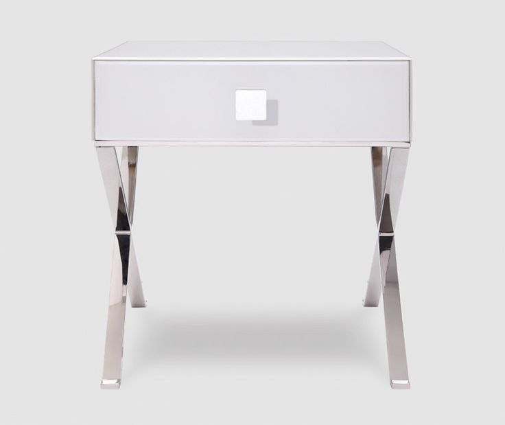 Best Zurich White Glass Chrome Bedside Table Modern White 640 x 480