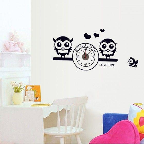 Симпатичные совы с часами стены DIY обои Наклейки Art росписи декора в номерах Decal