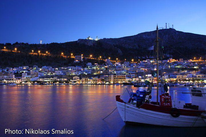 #Kalymnos Port with Saint Savvas at the hilltop