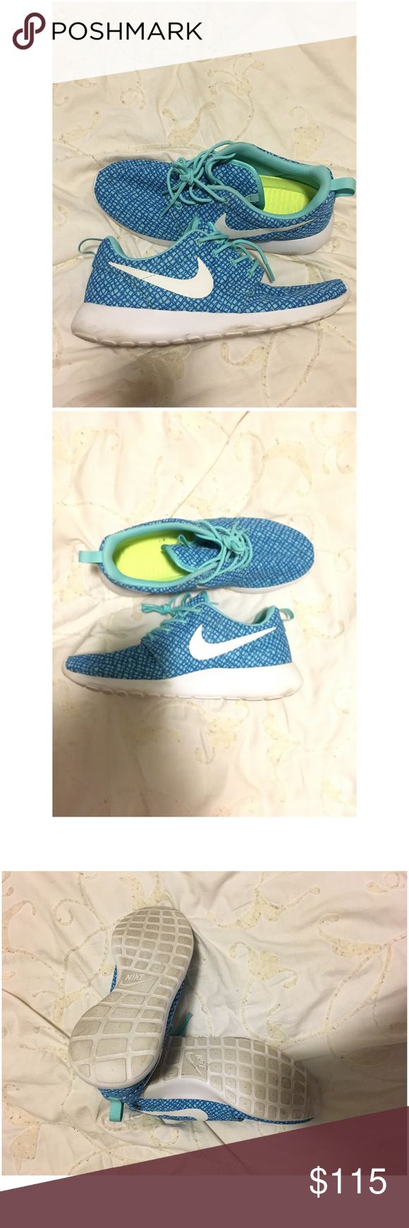 Blue NikeID Running Shoes Blue NikeID running shoes with a lighter teal print. Worn once. Nike Shoes Sneakers