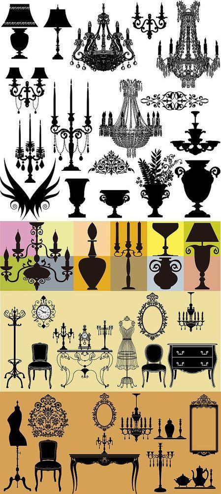 Furniture silhouettes thumb 450x1003 2801 シャンデリアやキャンドル、インテリア家具などシルエット・イラスト素材集(EPS)   Free Style