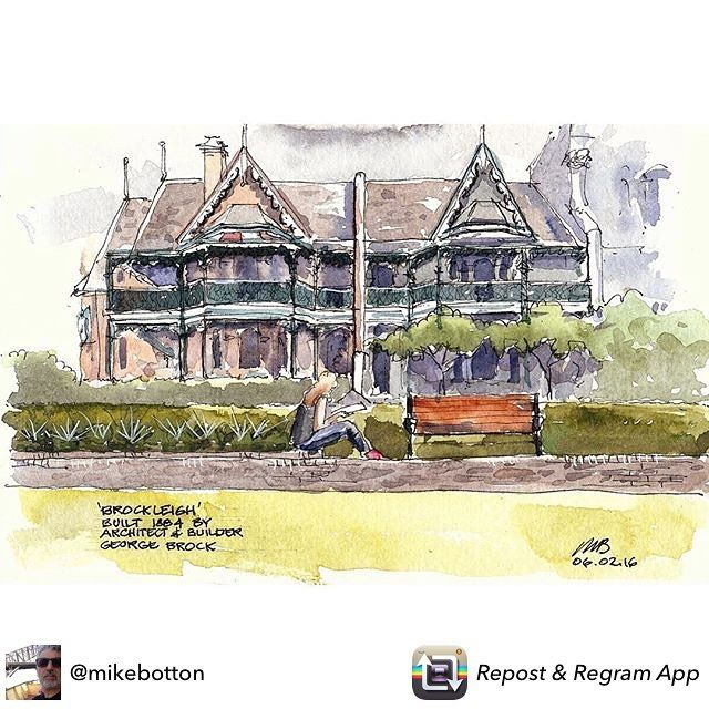 Repost from @mikebotton #Brockleigh by #architect developer George Brock 1884. He later went broke after developing a resort in Mona Vale on the promise of the government that a railway would be built. No railway and nobody came. Still waiting for that railway. Info by Gai, owner and resident of Brockleigh in #Holispark #newtown #sydney. #usk #archisketcher #usksydney #urbansketch #uskaus #strathmore #lamy #w&n #schminke #urbansketchers