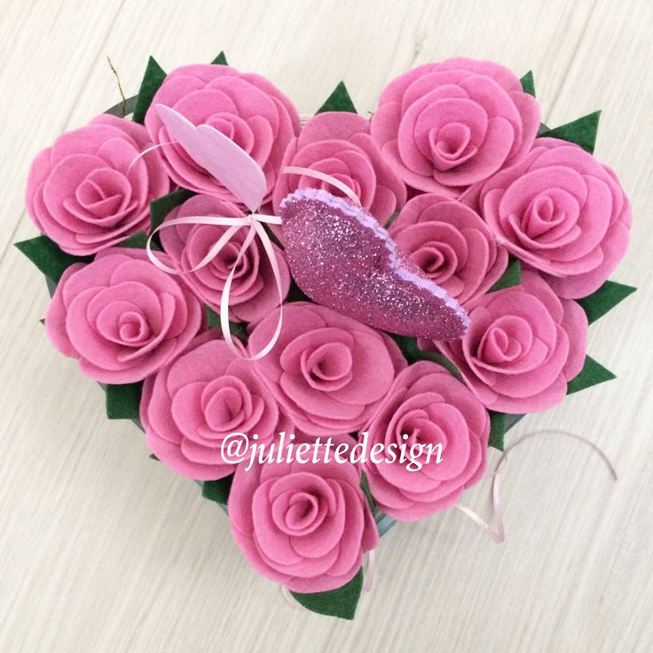 SALE! Pink Roses, Felt Roses, Easter Floral Arrangement, Roses in Heart Vase, Wedding Centerpiece, Engagement Gift by juliettesdesigntr on Etsy https://www.etsy.com/listing/589579739/sale-pink-roses-felt-roses-easter-floral