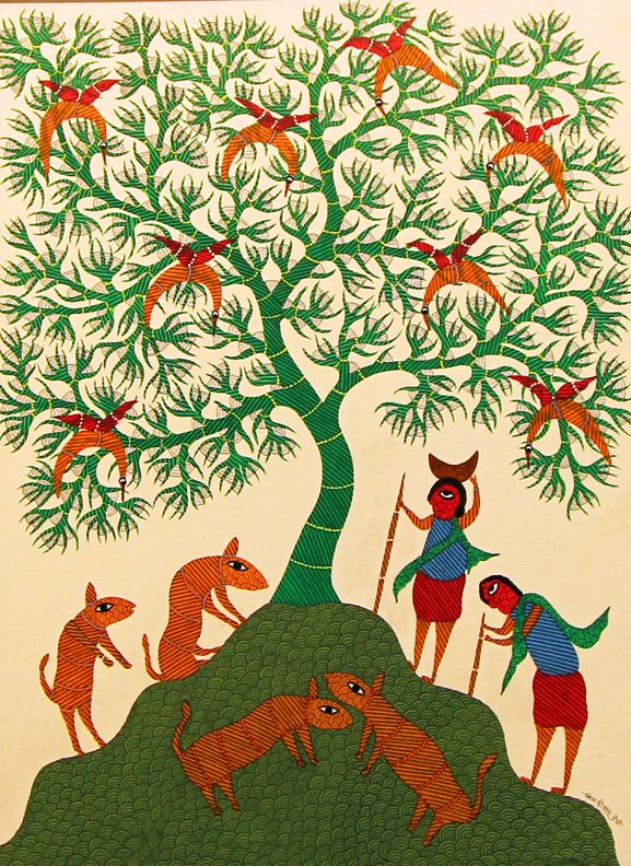gond painting village life