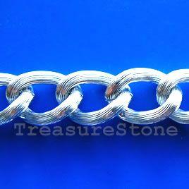 Chain, aluminum, silver,15x22mm curb