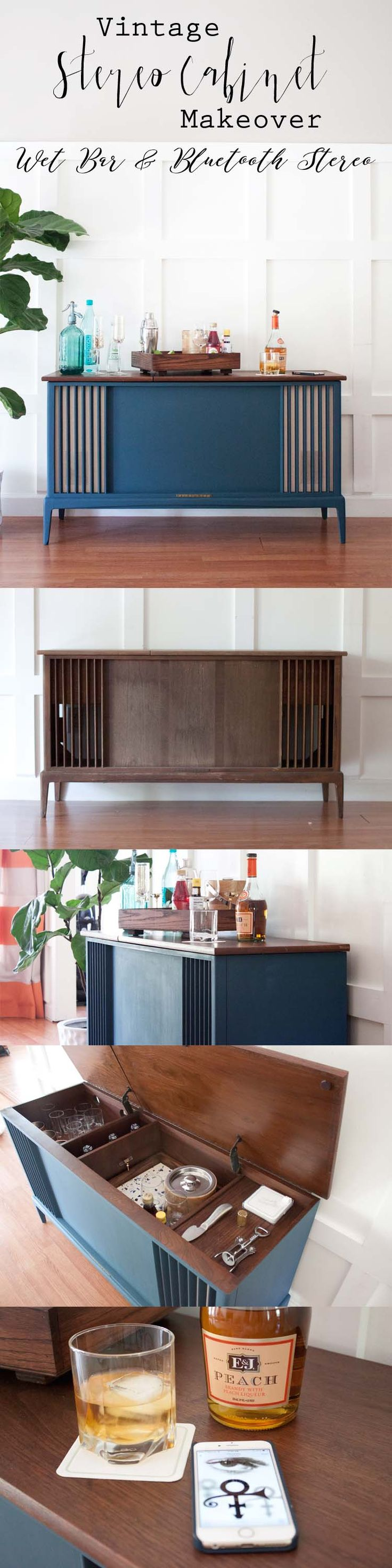 A gutted vintage stereo cabinet gets a new lease on life and now doubles as a modern bluetooth stereo cabinet and wet bar. #FabFlippinContest [sponsored] @pureandoriginal