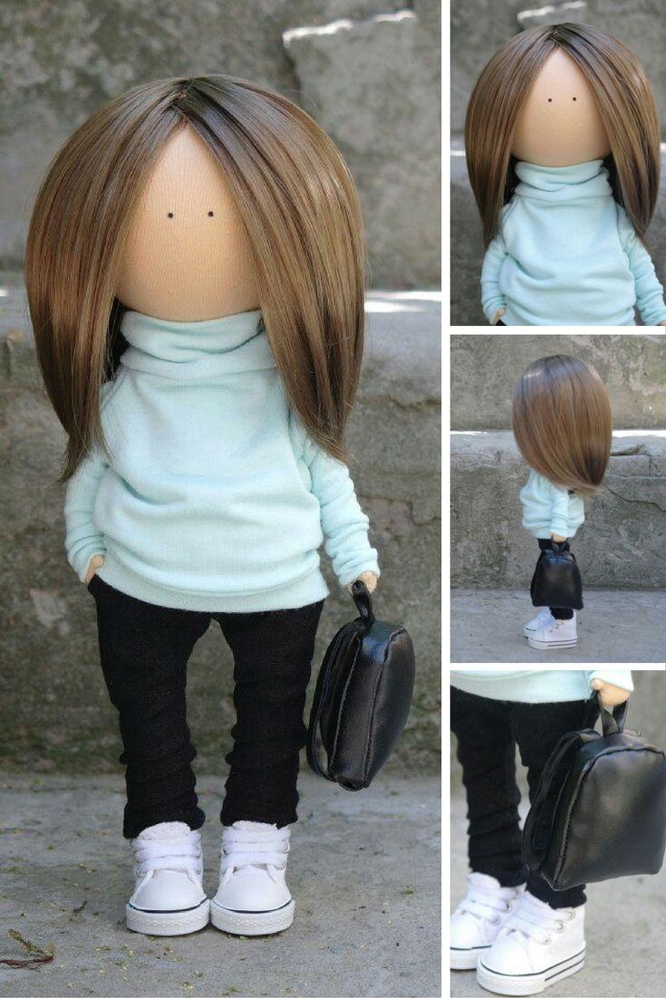 Teenager doll Fabric doll Handmade doll Soft doll Rag doll Tilda doll mint color Interior doll Unique doll Doll toy by Margarita Hilko