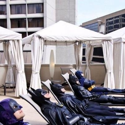 All the Batmans know how to enjoy Summah! That'll make for some interesting tan lines, 5 o'clock sun burn.