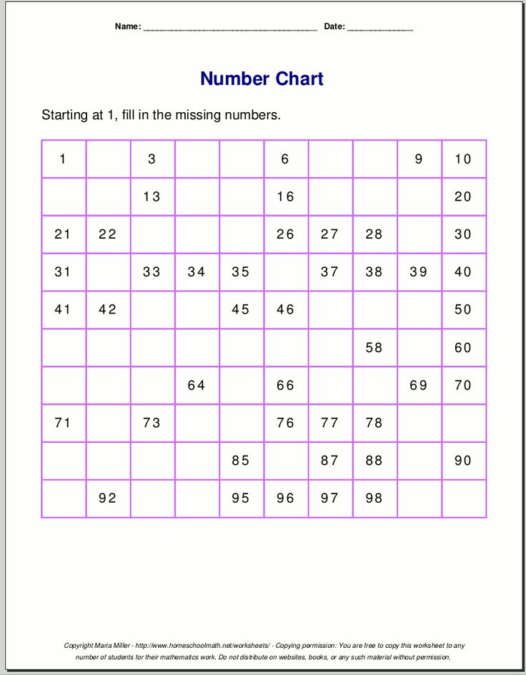 Free printable number charts and 100-charts for counting ...