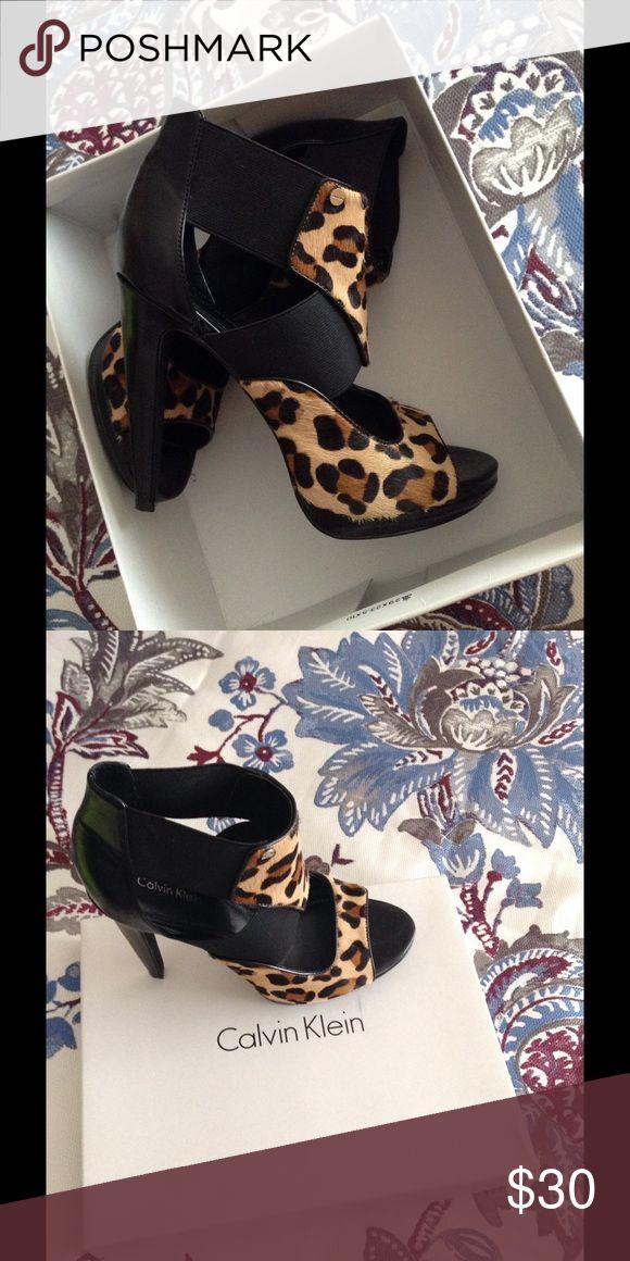 Animal Print Heels Heeled Sandals!  Comfortable Soft Leather Lined Animal Print. Slight Platform...Heel 4inches Calvin Klein Shoes Sandals