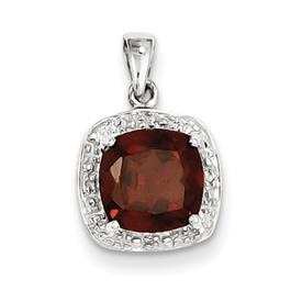 Rhodium plated sterling silver red garnet and diamond pendant from Garden of Gems, $69.