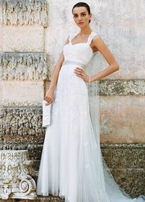 David's Bridal Cap-Sleeve Slim Gown with Keyhole Back